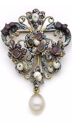 A 17th century gem-set, pearl and enamel brooch. The brooch of tapered scrolling design, decorated with flower heads and blue, white, pink and black enamel, accented by table-cut rubies and garnets, in foiled closed-back settings and seed pearls, suspending a 9.0mm pearl drop, lengths: 5.7cm
