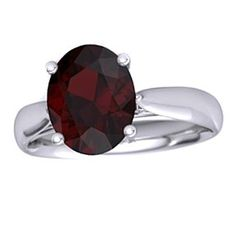 4 Ct Oval Cut January Birthstone Garnet Sterling Silver Solitaire Ring # Free Stud Earrings by JewelryHub on Opensky