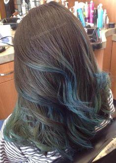 brown hair with pastel blue balayage