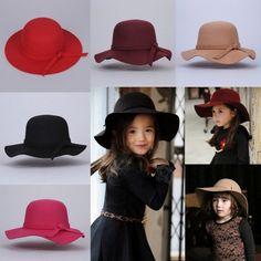 New Kids Girls Children Wide Brim Hat Retro Felt Bowler Fedora Floppy Cap  Cloche a7adc1feee38