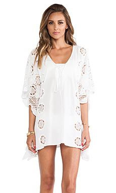 LIV Lace-Up Caftan en Blanco