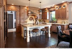 Cabinets: Showplace inset cabinetry in maple Vintage Nutmeg creates a tasty setting Maple Kitchen Cabinets, Kitchen Countertops, Kitchen And Bath Showroom, Kitchen Cabinet Manufacturers, Quality Kitchens, Just Dream, Updated Kitchen, Kitchen Flooring, Cool Kitchens