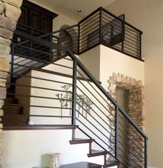 Image result for horizontal farmhouse metal stair railing