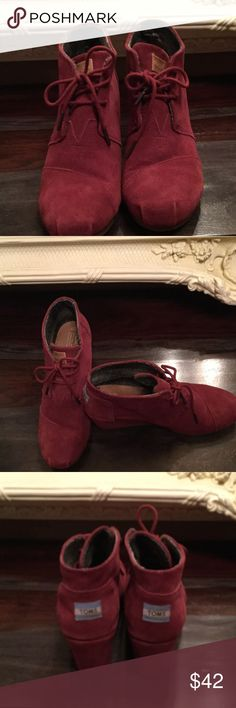 "Toms Desert Wedge Bootie Toms Desert Wedge Burgundy Bootie.                   Excellent Condition!!!!                         Asymmetrical topstitching - Lace-up vamp closure - Wedge heel  - Approx. 2.5"" heel TOMS Shoes Ankle Boots & Booties"