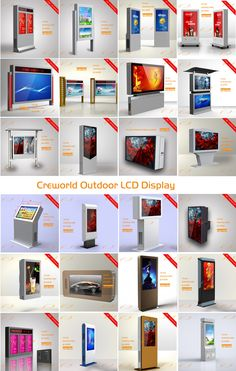 Creworld outdoor lcd display,outdoor digital signage ,outdoor touch screen,outdoor lcd touching totem Tv Display, Display Design, Booth Design, Store Signage, Retail Signage, Directional Signage, Wayfinding Signage, Kiosk Design, Signage Design