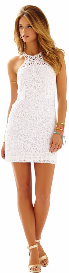 LILLY PULITZER JAIMIE KNIT LACE SHIFT DRESS - 2015