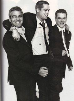 Three for one!  George Clooney, Brad Pitt and Matt Damon #BradPitt