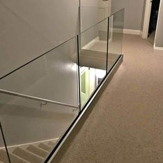 Hollow aluminum channel for glass railings Yurihomes Modern Stairs Aluminum CHANNEL Glass Hollow Railings Yurihomes Glass Balcony Railing, Indoor Railing, Indoor Balcony, Home Stairs Design, Door Design, House Design, Channel Glass, Glass And Aluminium, Laminated Glass