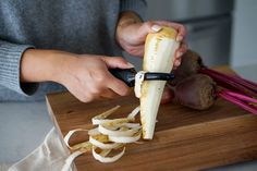 Peel the toughest root veggies in comfort thanks to the cushioned handle of the Good Grips Swivel Peeler. Food Prep, Meal Prep, Root Veggies, Good Grips, Handle, Tableware, Ethnic Recipes, Kitchen, Dinnerware
