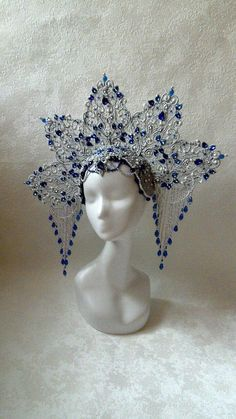 Shop for headdress on Etsy, the place to express your creativity through the buying and selling of handmade and vintage goods. Gothic Hairstyles, Crown Hairstyles, Turbans, Black Hair Pieces, Diy Crown, Head Jewelry, Magical Jewelry, Whimsical Fashion, Circlet