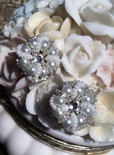 Vintage Hollywood Glam Style Pearl Beaded Cluster Wedding Earrings on Etsy, $28.00