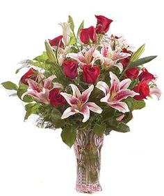 roses and stargazer lilies