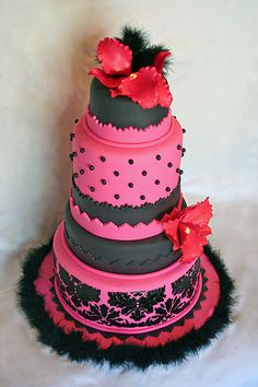 Pink and Black Orchid Cake