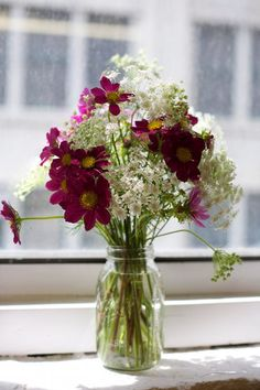 Centerpieces??  Queen Anne's lace and Cosmos in a mason jar