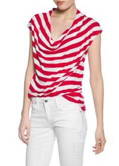 Buy Bright Red Mango Striped Draped T-Shirt from our Women's Shirts & Tops range at John Lewis & Partners. Cap Sleeves, Short Sleeves, Clothes For Women, Denim, Mango France, Neckline, Tops, Dresses, United Kingdom