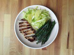 garlic miso pork.  summer citrus & cabbage salad.  blistered green beans.