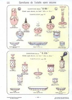 """Baccarat 1916<br>Garnitures de Toilette"""
