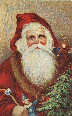 This original postcard is in very good condition with slight wear & creasing. This Vintage Christmas Postcard features an Embossed Design with Santa Claus holding Christmas toys. This postcard measures approx. 3 x 5 Images Vintage, Vintage Christmas Images, Noel Christmas, Victorian Christmas, Father Christmas, Vintage Holiday, Christmas Pictures, Vintage Cards, Vintage Postcards