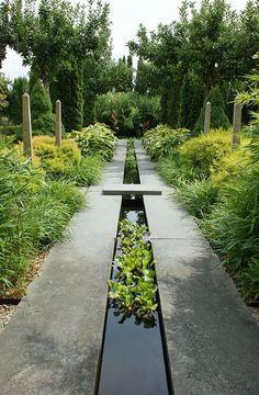 Water runnel formal garden feature by KarlGercens.com