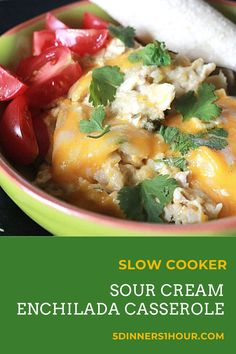 Slow Cooker Sour Cream Enchilada Casserole - 5 Dinners In 1 Hour Slow Cooker Recipes, Crockpot Recipes, Cooking Recipes, Sour Cream Enchiladas, Sour Cream Chicken, Crock Pot Desserts, Mexican Food Recipes, Ethnic Recipes, Quick Easy Dinner