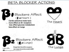 **Reblog** Cardiac & pharm. bloopz: This is soo helpful when remembering Beta Blockers (cardiovascular medication).B1- affects the heart (heart is 1 organ)B2- affects the lungs (there are 2 lungs)