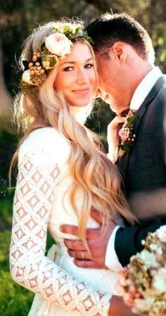 Wedding hair style bohemian long wavy flowers lace