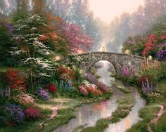PTM Images 'Stillwater Bridge' by Thomas Kinkade Framed Painting Print on Wrapped Canvas Oil Painting On Canvas, Canvas Art, Painting Art, Thomas Kinkade Art, Kinkade Paintings, Art Thomas, Hanging Paintings, Oil Paintings, Oil Painting Reproductions
