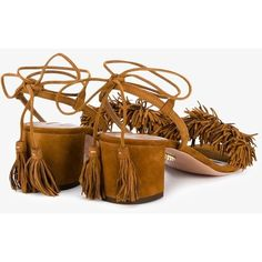 Aquazzura 'Wild Thing' Sandals ($785) ❤ liked on Polyvore featuring shoes, sandals, tassel sandals, leather fringe sandals, wrap around shoes, fringe shoes and tassel shoes