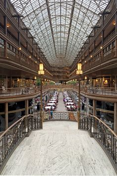 The Arcade Building in Cleveland, one of the world's first indoor shopping malls, opened in 1890.