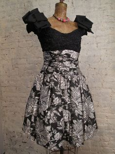 50s Black and White Silk Cocktail Dress by ChelseaGirlNYC on Etsy, $65.00