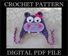 PDF PATTERN  Hippo Crochet Hat Pattern by BusterBrowns on Etsy