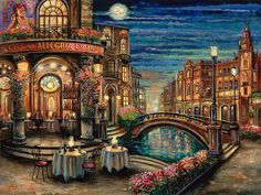 Artist Vadik Suljakov showcased at Pierside Gallery, Anime Comics, City Painting, Italy Art, Thomas Kinkade, Urban Landscape, Russian Landscape, Beautiful Paintings, Traditional Art, Pretty Pictures