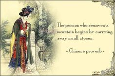 The person who removes a mountain begins by carrying away small stones. Motivational quotes on PictureQuotes.com.