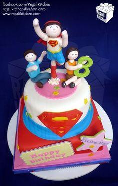 Super Girl cake Superman Cakes, Girl Birthday, Birthday Cake, Pastel, Awesome Cakes, Party Time, Party Ideas, Garden, Girls