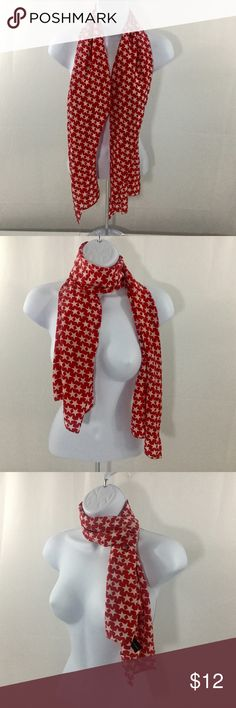 "Adrienne Vittadini Women's Silk Scarf Red w/ Stars Excellent used condition, no noted flaws. One size fits most. Color red with white stars. 100% silk. Dry clean. Measurements: 13"" wide, length 54"". Adrienne Vittadini Accessories Scarves & Wraps"