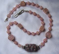 Natural Genuine Rose Quartz 24 Inch Necklace with Lampwork Focal SRAJD  39.99