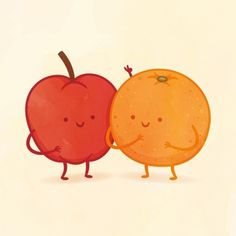 I got Apple and Orange! Which Adorable Food Pair Are You And Your Best Friend?