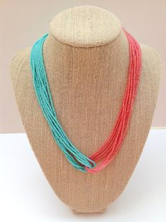 I love this colour combo! Turquoise and coral seed bead necklace // teal necklace // mint and peach necklace // coral necklace, pink and turquoise necklace, salmon on Etsy, $15.00