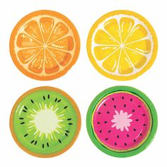 These fruit slices pair perfectly with dessert! Dig into the Tutti Frutti party theme for deliciously cute party supplies. The Tutti Frutti Paper Dessert . Tutti Frutti, Fruit Birthday, 2nd Birthday Parties, Party Plates, Dessert Plates, Summer Party Themes, Fruit Party, Dessert Party, Luau Party
