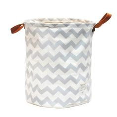 canvas fabric folding laundry basket with PU handle ,water wave design