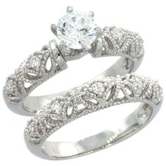 Center CZ 1.25 ct Sterling Silver 2-pc Engagement Wedding CZ Ring Set w// 7mm