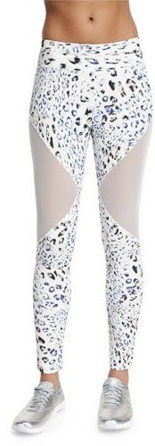 15e7fc1883667c Varley Bicknell Leopard-Print Leggings W/Mesh Inset. Mariesther Rodriguez ·  Activewear