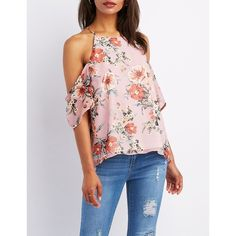 Charlotte Russe Floral Cold Shoulder Top ($21) ❤ liked on Polyvore featuring tops, multi, cut out shoulder top, open shoulder top, charlotte russe tops, floral spaghetti strap top and flower print tops
