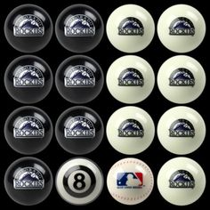 Colorado Rockies Home vs Away Billiards/Pool Table Ball Set