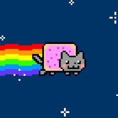 Nyan Cat is a pixel art GIF meme depicting a cat with the body of a cherry pop tart flying through outer space that has spawned parodies and fanart media numbering in thousands. Nyan Cat, Grumpy Cat, Chat Pusheen, Cat Text, Pikachu, Friend Memes, Funny Friends, Animation, Humor Grafico