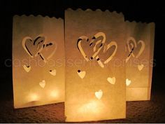 AmazonSmile: CleverDelights White Luminary Bags - 50 Count - Interlocking Hearts Design - Wedding, Reception, Party and Event Decor - Flame ...