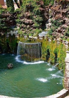 Waterfall and garden of the villa of cardinal Ippolito d`Este, Tivoli, Italy Places Around The World, The Places Youll Go, Places To See, Around The Worlds, Dream Vacations, Vacation Spots, Italy Vacation, Italy Trip, Vacation Deals