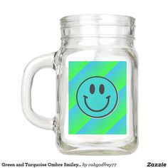 Green and Turquoise Ombre Smiley Face Mason Jar