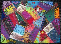 """Crazy Stitcher: """"Cat's and Geisha"""" Crazy Quilt Moving To California, Crazy Quilting, Some Pictures, Geisha, Quilts, Cats, Gatos, Quilt Sets, Log Cabin Quilts"""