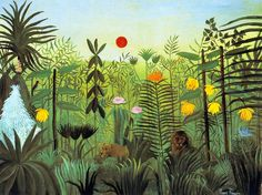 Exotic Landscape with Lion and Lioness in Africa , by Henri Rousseau